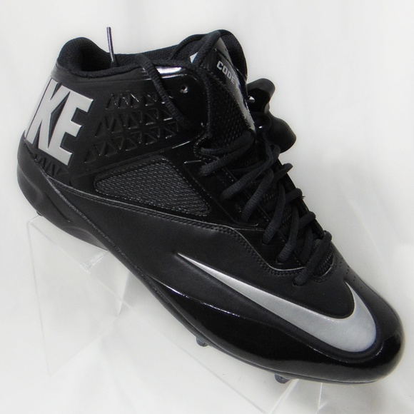 Nike Mens Lunar Code Pro Mid Football Cleats Black Silver New 579669-002 Size 10